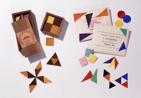Froebel's seventh gift  triangular and quadrangular tablets of colored paper
