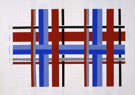 Paper weaving artwork by an anonymous kindergartner (c. 1890), from the Norman Brosterman Kindergarten Collection