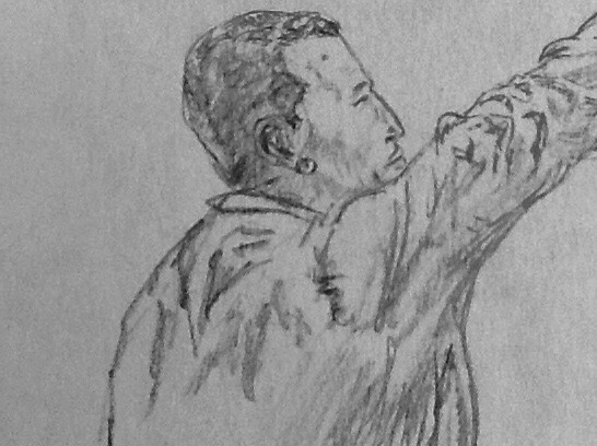 Chávez Reaching. Drawing by Anthony Spanakos