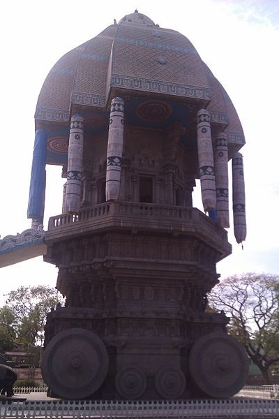 <i>Valluvar Kottam monument in Chennai, India, dedicated to the Tamil poet Thiruvalluvar</i>. Photograph by Joe Ravi. Wikimedia Commons