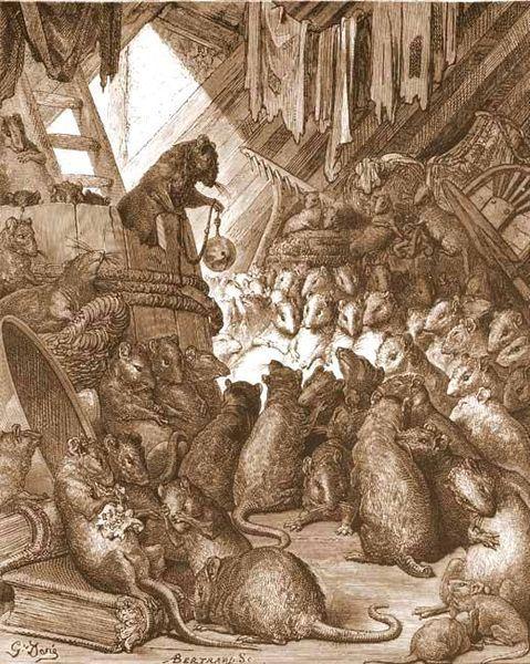 Gustave Dorés illustration of La Fontaines fable, <i>Conseil tenu par les rats</i> (ca. 1868). Wikimedia Commons