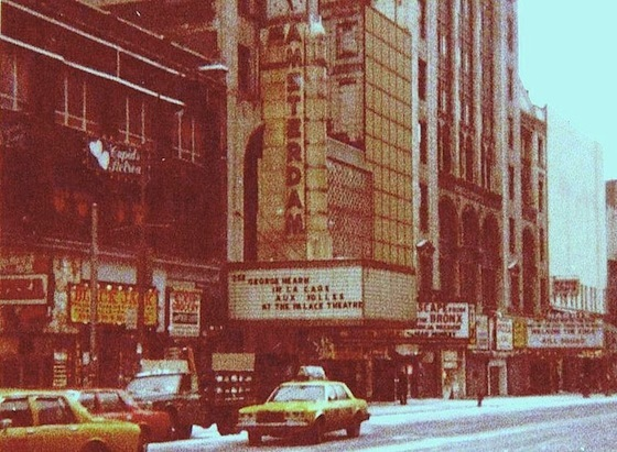 <i>Looking west at the New Amsterdam Theater, 42nd Street, before the renovation of Times Square</i> (1985). Photograph by JGKlein. Wikimedia Commons