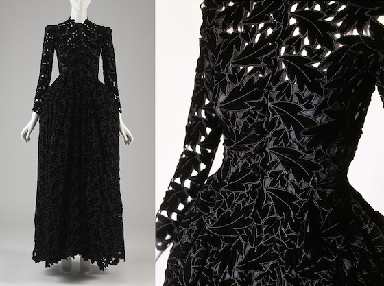 Cristóbal Balenciaga, <i>Evening Dress</i> (France, 1938). Silk velvet. The Museum at FIT, 91.255.2. Gift of Tina Chow