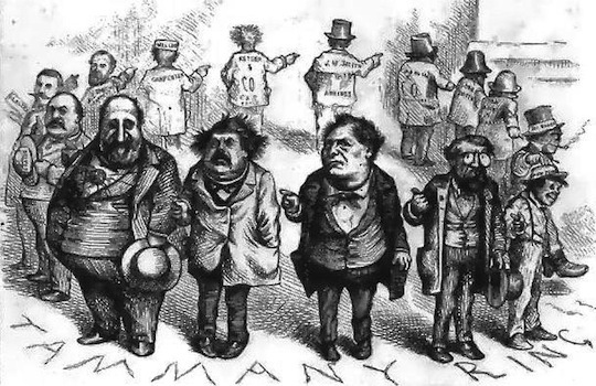 Boss Tweed and the Tammany Ring, caricatured by Thomas Nast, c. 1870. Wikimedia Commons