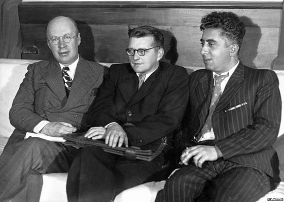 From left: Sergei Prokofiev, Shostakovich, Aram Kachaturian (1945). Wikimedia Commons