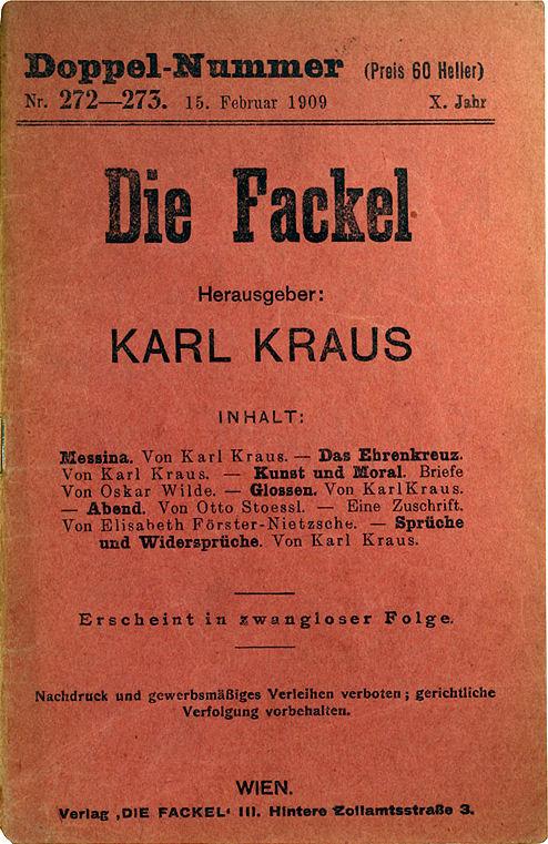 Die Fackel, volume 272273 by Karl Kraus / Wikimedia Commons