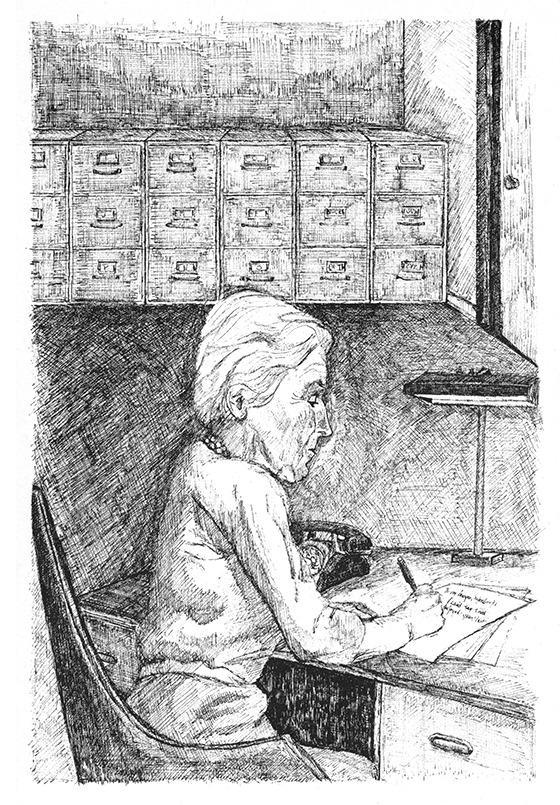 Illustration by E. L. Konigsburg from her novel <i>From The Mixed-Up Files of Mrs. Basil E. Frankweiler</i> (1967). Elaine Lobl Konigsburg Papers, 1930-2013, SC.1986.01, Nesbitt Collection, Special Collections Department, University of Pittsburgh