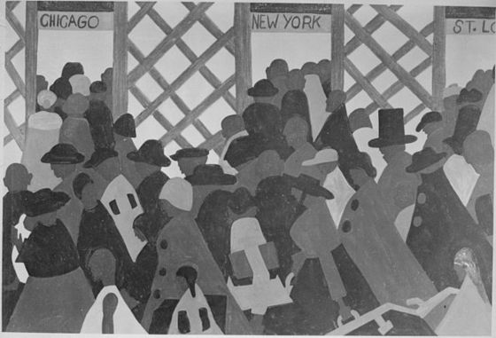 Jacob Lawrence, <i>The Migration of the Negro</i>, panel no. 1 (194041). Wikimedia Commons