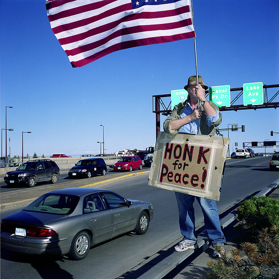 <i>Honk for Peace</i>. Photograph by K. Prazlowicz / Flickr