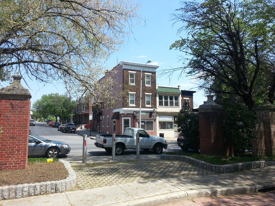 <i>Intersection of Greenmount Avenue and Southway</i>. Photograph by Stephen J. Campbell