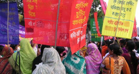 A march for International Women's Day in Dhaka, Bangladesh
