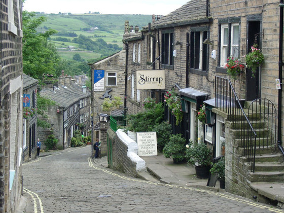 <i>Haworth Main Street</i>. Photograph by Jaqcui Sadler / Wikimedia Commons