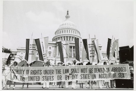 Feminist protest on the Capitol steps in 1979