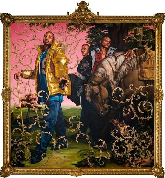 Kehinde Wiley, <i>Le Roi a la Chasse II</i> (2007). Oil and enamel on canvas (108 x 108). Source: kehindewiley.com