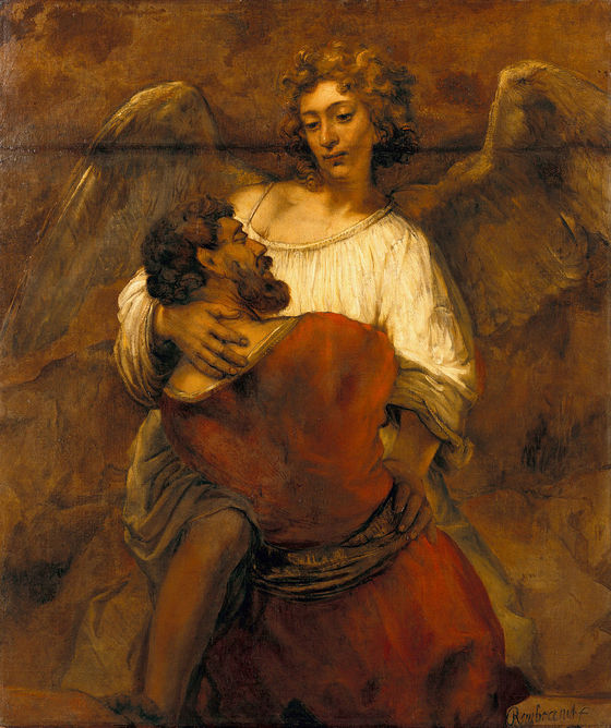 Rembrandt, <i>Jacob Wrestling with the Angel</i> (c. 1659). Oil on canvas