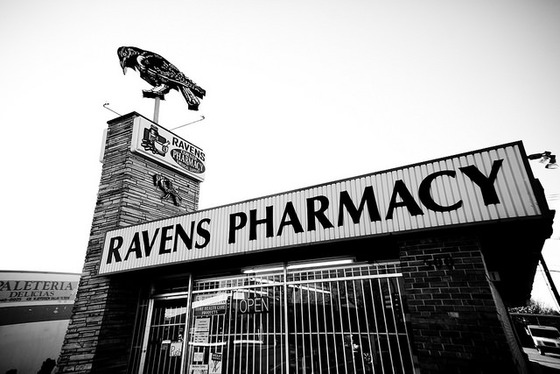 <em>Ravens Pharmacy</em>. Photograph by Thomas Hawk / Flickr