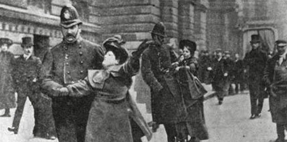 <i>Suffragettes Mrs. Flora Drummond and Miss Annie Kenney after attempting to force their way into 10 Downing Street</i> (1906). Photograph by Leonard Bentley