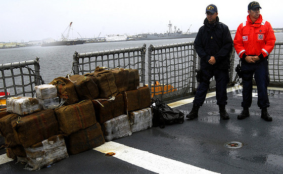 <i>$52 million of cocaine seized off the coast of Florida</i>. Photograph by Coast Guard News / Flickr