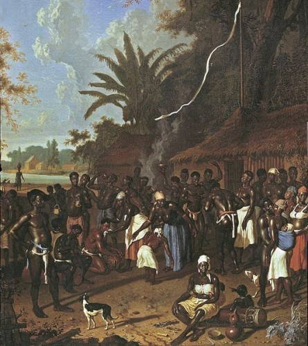 <i>An 18th-century painting by Dirk Valkenburg showing plantation slaves during a ceremonial dance</i>. Photograph by Albert Eckhout