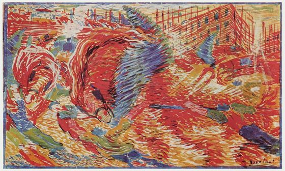 Umberto Boccioni, Sketch for <i>The City Rises</i> (1910). Wikimedia Commons.
