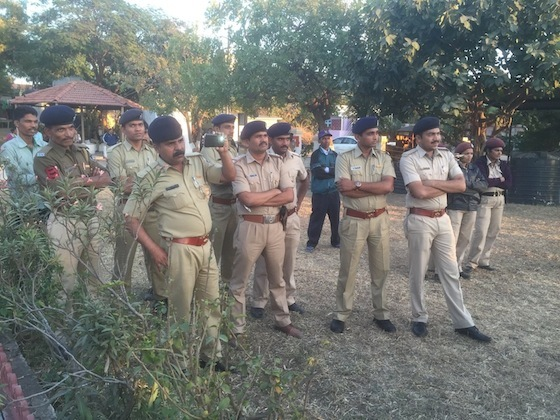 <i>Police observers at the Sarv Bhasha Samvadvernacular literatures conferencein Dandi, Gujarat, January 30, 2016</i>. Image courtesy Sarv Bhasha Samvad and Indian Writers Forum