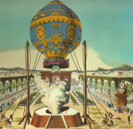 <i> The first manned hot-air balloon, designed by the Montgolfier brothers, takes tethered off at the garden of the Reveillon workshop, Paris, on October 19, 1783</i>. Image courtesy of Library of Congress / Wikimedia