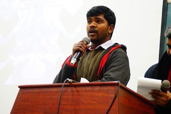 <i>Huchangi Prasad speaking during a panel discussion at Ambedkar University Delhi on January 20, 2016</i>. Photograph courtesy Indian Writers Forum