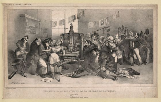 <i>Raid on the workshops of the freedom of the press</i>, J.J. Grandville, ca. 1832 / Wikimedia Commons