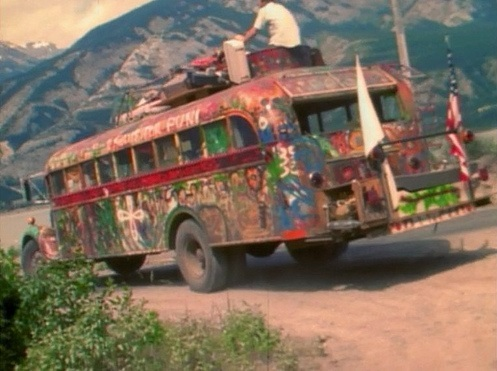 Ken Kesey's bus, Further, which features prominently in Wolf's <i>Electric Kool-Aid Acid Test</i>, in 1964. Photograph by Rcarlberg / Wikimedia Commons