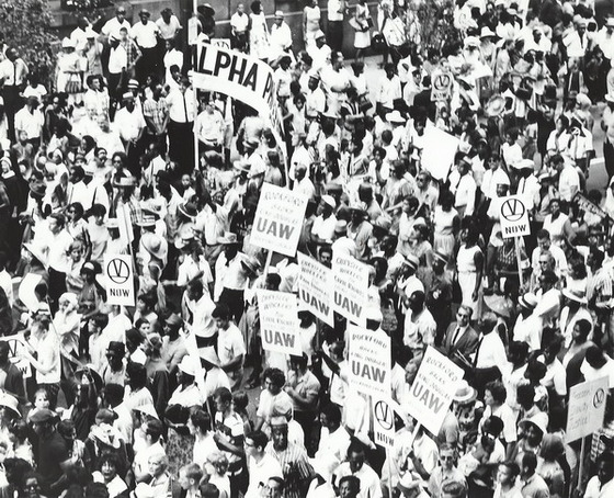 Union workers at civil rights rally. Source: Digital Collections, UIC Library