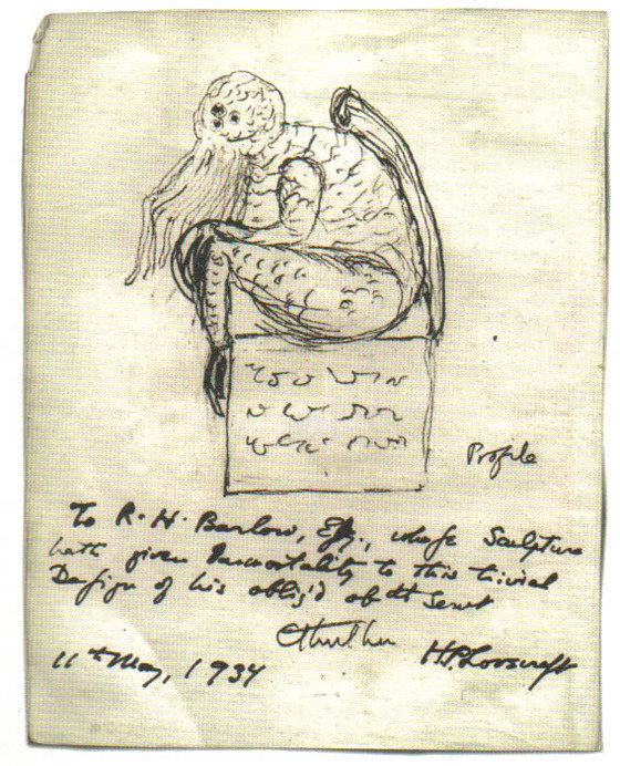 A sketch of the fictional character Cthulhu, drawn by his creator, H. P. Lovecraft, Wikimeida