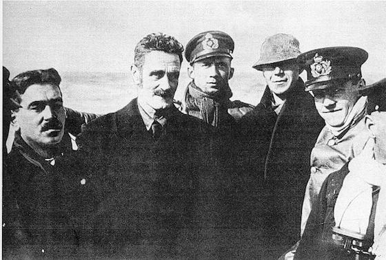 Roger Casement, second from left, on German submarine with Robert Monteith and Daniel Bailey of the Irish Brigade, April 1916