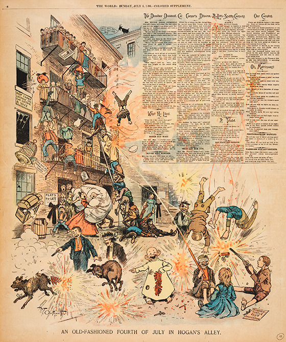 An Old-Fashioned Fourth of July in Hogans Alley by Richard F. Outcault, star ink-slinger of first one turn-of-the-century media magnateJoseph Pulitzerand then anotherWilliam Randolph Hearst.