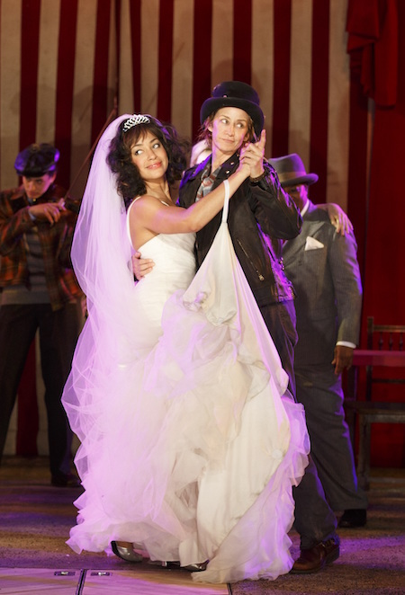 Cush Jumbo as Katherine (left) and Janet McTeer as Petruchio (right) in the Public Theater's summer production of <i>The Taming of the Shrew</i>. Photograph by Joan Marcus