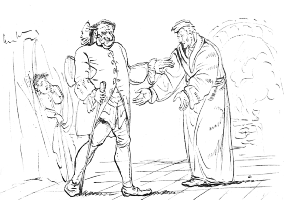 <i>Nathan's father and his guest, with Nathan hiding on the left, drawn by E. T. A. Hoffman himself</i>. Photograph courtesy of Wikimedia Commons