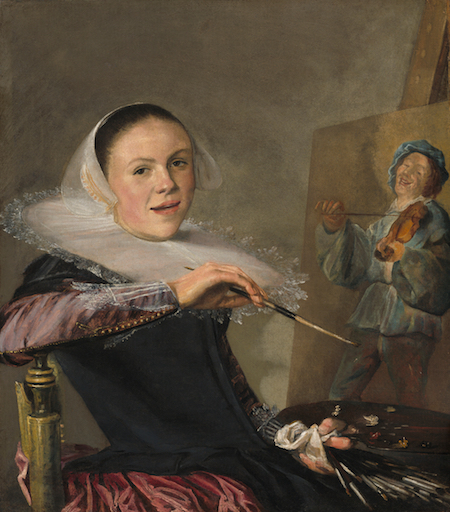 Judith Leyster, <i>Self-Portrait</i> (c. 1630). Oil on canvas, 74.6 cm x 65.1 cm. National Gallery of Art. Leysters entire oeuvre was attributed to Frans Hals until 1893.