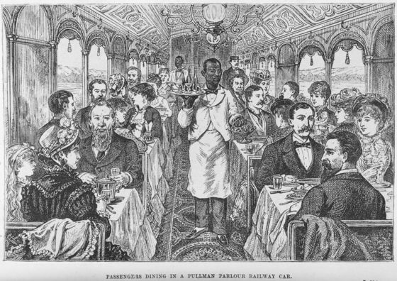 "<i>""Passengers dining in a Pullman parlour railway car,"" 1882</i>. Photograph by George Augustus Sala / New York Public Library Digital Collections"