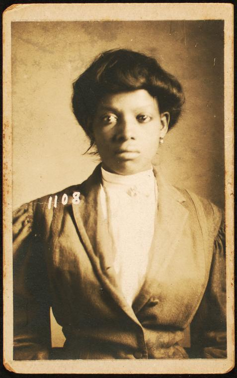 "<i>New Orleans police photograph of Bertha Farnsworth, charged with being a ""suspicious person,"" 1908</i>. Photograph by Schomburg Center / New York Public Library Digital Collections"