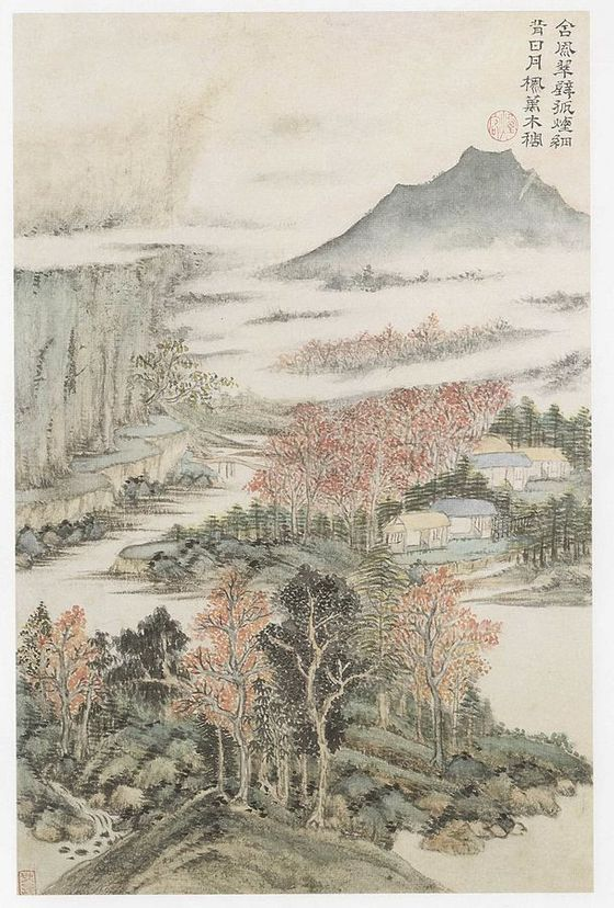 Leaf from an album illustrating the poems of Du Fu (1666). Wang Shimin / Wikimedia Commons