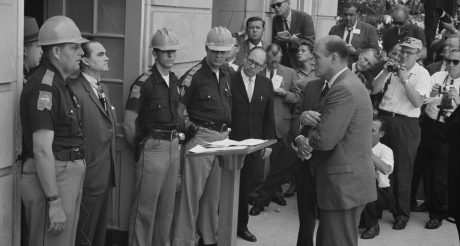 George Wallace stands in the door at the University of Alabama