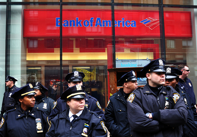 Police in front of Bank of America