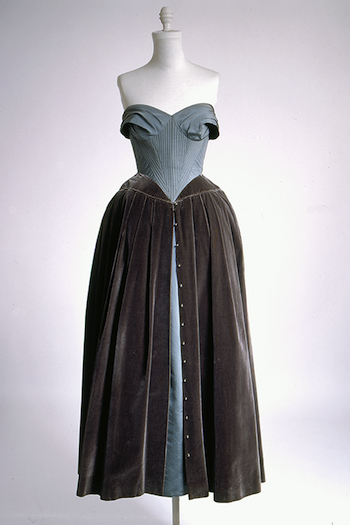 Balmain, <i>Evening Dress</i> (France, ca. 1951). Light blue taffeta, mauve velvet, silver buttons. The Museum at FIT, 84.125.3. Gift of Mrs. F. Leval