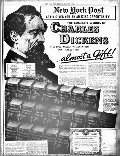 Dickens promotion ad from the <i>New York Post</i> (January 7, 1936)