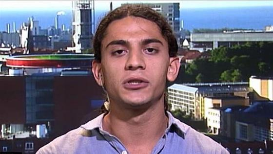 Yahya Hassan on the Danish news program <i>Deadline</i> in October 2013