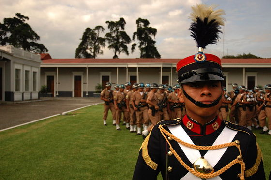 A cadet from Guatemala's military academy (2006). Photograph by Virgilrn. Wikimedia Commons