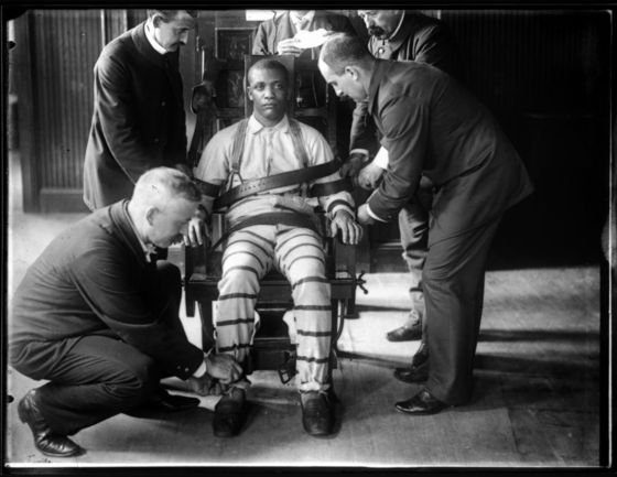 William M. Vander Weyde, <i>Electric Chair at Sing Sing</i> (c. 1900). Wikimedia Commons