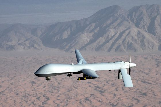 <i>MQ-1 Predator unmanned aircraft</i> (2008). Wikimedia Commons / US Air Force photograph / Lt. Col. Leslie Pratt