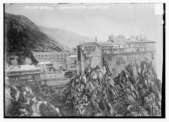 Mt. Athos, Simonopetro Convent, (ca. 1910) 1 negative : glass ; 5 x 7 in. Flickr / Bain News Service