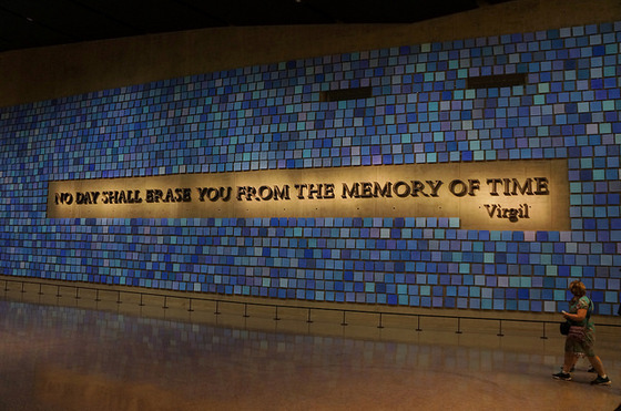 <i>Spencer Finch, </i>Trying To Remember the Color of the Sky on That September Morning<i>, at the National September 11 Memorial Museum</i> (2014). Photograph by Augie Ray / Flickr