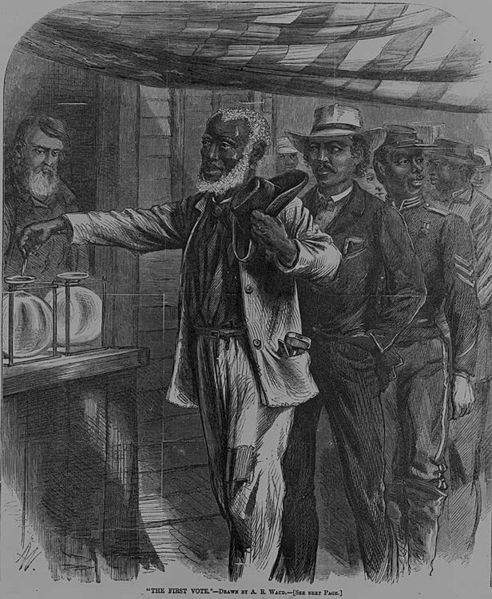 <em>Contemporary print of first black vote in US</em>. Library of Congress
